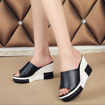 Women Sandals 2017 Summer Shoes Woman Flip Flops Wedges Height Increasing Fashion Platform Female Slides Ladies Shoes Peep Toe