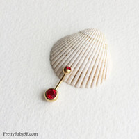 RED Belly ring, gold belly button ring, barbell, bellybutton ring, navel piercing, gold belly ring, gold navel bar belly ring piercing, RED