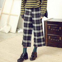 Plaid Pattern Slant Pocket Pants