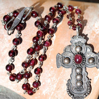 Sterling Silver,Garnet, Holy Cross, Necklace, Pendant, Beaded, Bead,Boho, Christian, Hippie