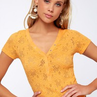 Santa Barbara Golden Yellow Lace Cropped Tee