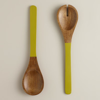 Green Mango Wood Dipped Salad Servers, Set of 2