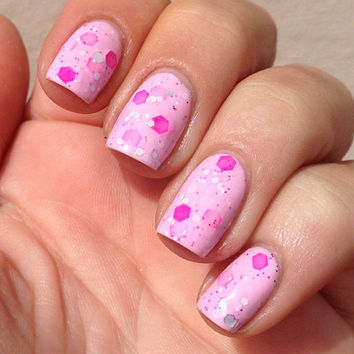 "Nail polish - ""Sweet As"" neon pink, silver and white glitter in a light pink base"