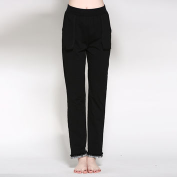 Simple Casual Cotton Slim Tassels Home Ladies Pants [4918267652]