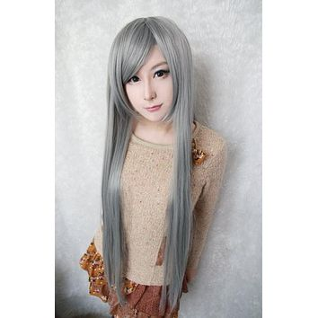 80cm long cosplay anime Changan unreal night cosplay synthetic lace front wig,Colorful Candy Colored synthetic Hair Extension Hair piece 1pc WIG-017A