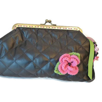 Coin Purse in  Black Quilted Fabric / Black Metal frame Coin Purse / Padded Make up Pouch / Make up Case with crochet flower