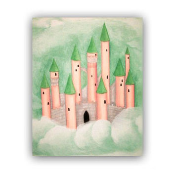 Princess Castle Children Nursery Decor, Art Print Castle, Peach Green, Nursery prints , Girl Nursery Decor, Princess Wall Art for Girls