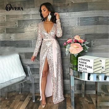 Ohvera Sequin Maxi Dress Women Sexy High Split Long Dress 2018 Solid V Neck Autumn Winter Dresses Vestidos