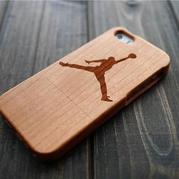 Cherry Wood Jordan iPhone 5 5s Case Holder , Wood Phone Case for iPhone 5 5s , Wooden