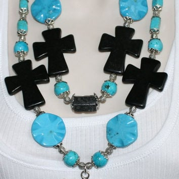 Chunky Western Cowgirl Statement Necklace, Blue and Black Turquoise Jewelry, Country Western Rodeo Necklace, Antique Silver Cross Concho