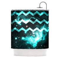 "Alveron ""Aqua Galaxy Chevron"" Shower Curtain"