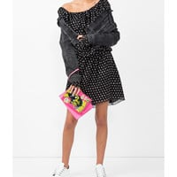 Saint Laurent Polka Dot One Shoulder Dress - Black Long Sleeve Dress