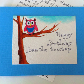Happy Birthday Card, Owl Note Card, blank card with Envelope, Hand Painted and Hand Lettered Card, owl Painting, cute owl on branch, Blue