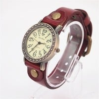 MagicPieces Red Big Dial Cow Leather Watch of Vintage Style 133 WDP 0617