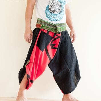 Size M/L Unique Wrap Around Samurai Harem Pants (Red Sakura Seal)