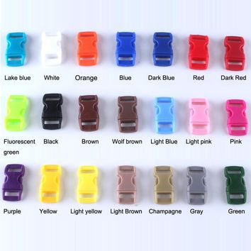 """50 Pcs 21 colors 3/8"""" / 10mm Plastic Curved Side Release Buckles Curved Clasp for 550 Paracord Survival Bracelets Straps Webbing"""