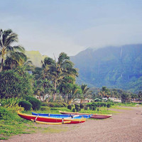 Hawaii Beach Photography - Kauai Fine Art Print - Tropical Nature Landscape - Hanalei Bay Scenic Island View - Beautiful Hawaiian Photo