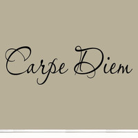Carpe Diem Vinyl Wall Decal Inspirational Quote Seize the Day Wall Art Saying