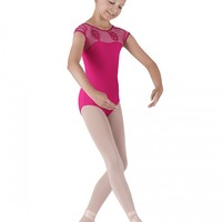 Jamie Swirl Flower Girls Cap Sleeve Leotard from Bloch