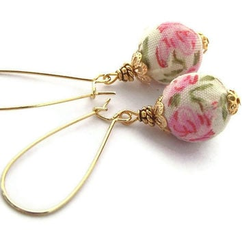 Pink Rose Earrings, Vintage Style Fabric Beads, Spring Summer Fashion, Pink White Gold, Romantic, Cute
