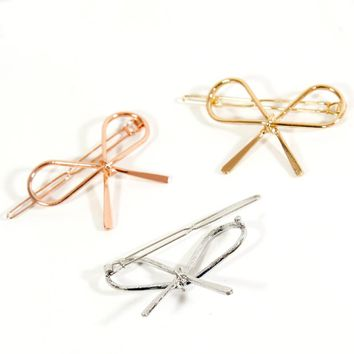 1PC New Fashion Women Barrettes Elegance Alloy Bangs Bows Gilding Silvering Hairpins Hair Clips Hair Accessories For Girls