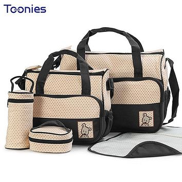 High Quality Multifunction Tote Packages Baby Shoulder Diaper Bags Durable Nappy Bag Baby's Feeding Bottle Mummy Packs 5PCS/Set