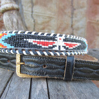70s/80s Black Indian Beaded Southwestern Leather Belt, 81-92 cm / 31-36 in // Vintage Hand Beaded and Laced Cowgirl Belt