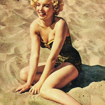 Marilyn MonroeBathing SuitGold Satin & Black Lace by Morningstar84