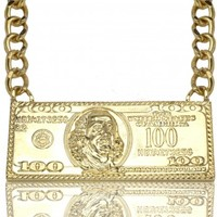 B2 – 100 Dollar Bill Necklace – GOLD