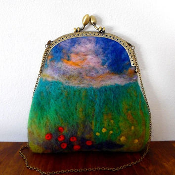 Flower meadow purse / needle felt / wool / colourful / embroidered / handmade / bronze / lined / chain strap / small clasp flower bag