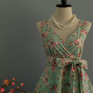 My Lady II - Mint Green Pink Floral Dress Spring Summer Mint Green Floral Party Dress Mint Floral Bridesmaid Dress Vintage Tea Dress XS-XL