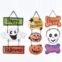 1PC HAPPY HALLOWEEN Hanging Skull Pumpkin Party Bar Cartoon Kids Halloween Decoration Halloween Window Decoration