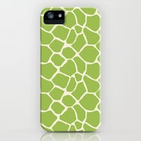 Giraffe Pattern Animal Print (lime) iPhone & iPod Case by The BeezKneez