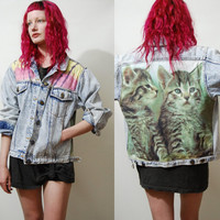 Denim 90s Vintage PATCH JACKET Pale Acid wash CATS Cat Tie-Dye Grunge 1990s vtg ooak Handmade xs s m l