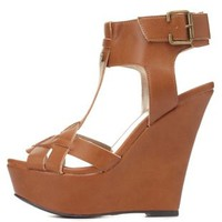Qupid Crisscrossing T-Strap Platform Wedges