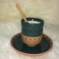 Stoneware Japanese Teacup Soy Wax Candle with a Cinnamon Stick Accent