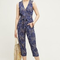 Plenty by Tracy Reese Feya Jumpsuit in Blue Motif Size: