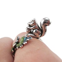 3D Squirrel on a Branch Shaped Adjustable Ring in Silver