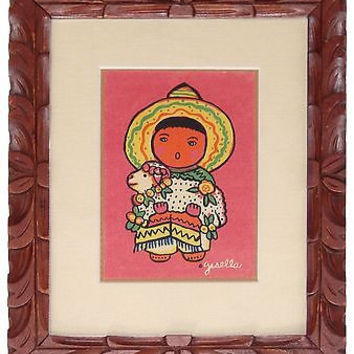 WPA Artist Gisella Loefller NM Pueblo Child Silkscreen Print Carved Wood Frame