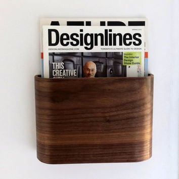 magazine rack wall hung wooden magazine holder
