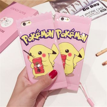 Pink cute Pokemon Pika Cases Cover For Apple phone shell 6 6 s 7 Plus Biscuit candy chocolate Pikachu type digital TPU Soft Case