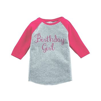 Custom Party Shop Girls' Birthday Girl Vintage Baseball Tee 2T Grey and Pink
