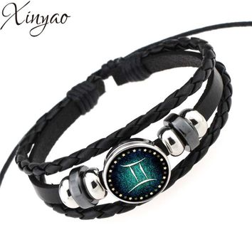 Virgo/Sagittarius/Aquarius/Scorpio/Libra/Capricorn 12 Constellation Bracelet Men Women Braided Leather Bracelets & Bangles