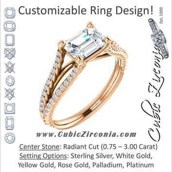 Cubic Zirconia Engagement Ring- The Contessa (Customizable Radiant Cut with Split Euro-Shank Band and Rope-Pavé)