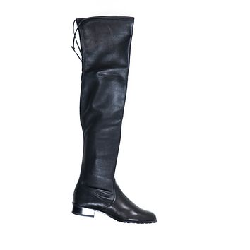 "Stuart Weitzman Black Leather Over the Knee ""Lowland"" Boots US6 EU36"