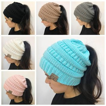 CC Fashion Ponytail Beanie Winter Hats For Women Crochet Knit Cap Warm Caps Female Knitted Stylish Hat Ladies Skullies Beanies