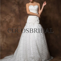 lace wedding dress/Chapel Train wedding dresses/strapless bridal dress/long wedding dress/2013 new style bridal gowns/custom made zyhz0047