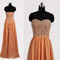 2014 Beading Orange Pink Crystals Sweetheart Strapless A-Line Lace-up Long Ruffled Bridesmaid Dress,Floor-Length Chiffon Evening Prom Dress