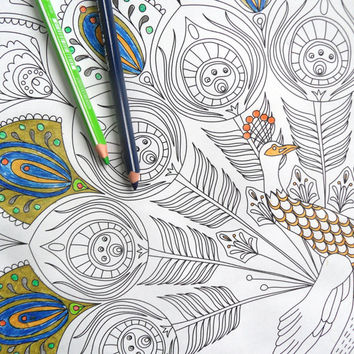 giant colouring page, adult coloring books, peacock illustration, kids poster, peacock feather, cool poster, art therapy, big colouring page