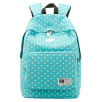 Women's Large Polka Dots Rucksack Backpack Bookbag Blue
